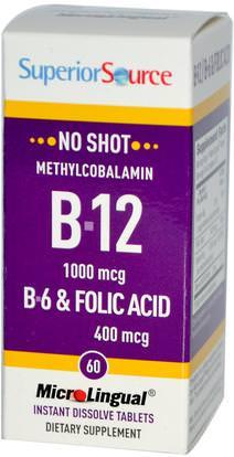 Superior Source, Methylcobalamin B-12, 1000 mcg, B-6 & Folic Acid 400 mcg, 60 MicroLingual Instant Dissolve Tablets ,الفيتامينات، وفيتامين ب، وفيتامين ب 12، وفيتامين ب 12 - ميثيلكوبالامين