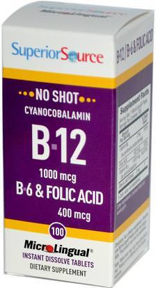 Superior Source, Cyanocobalamin B-12, 1000 mcg, B-6 & Folic Acid 400 mcg, 100 MicroLingual Instant Dissolve Tablets ,الفيتامينات، وفيتامين ب، وفيتامين ب 12، وفيتامين ب 12 - سيانوكوبالامين