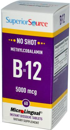 Superior Source, Methylcobalamin B12, 5000 mcg, 60 MicroLingual Instant Dissolve Tablets ,الفيتامينات، وفيتامين ب، وفيتامين ب 12، وفيتامين ب 12 - ميثيلكوبالامين