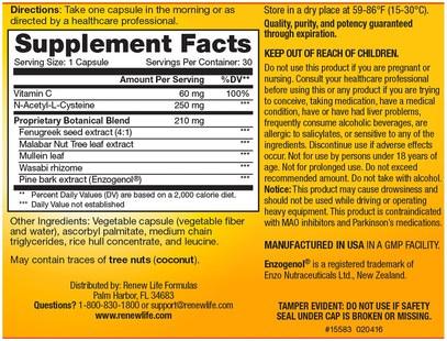 المكملات الغذائية، 5-هتب، الكافا الكافا Renew Life, Targeted, Smokers Cleanse, Lung Support Formula, 30 Day Program, 3-Part Program