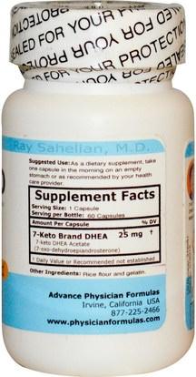 والمكملات الغذائية، 7 كيتو، والصحة، والنظام الغذائي Advance Physician Formulas, Inc., 7-Keto, 25 mg, 60 Capsules