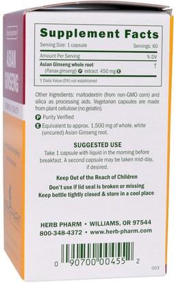 المكملات الغذائية، أدابتوغين، الانفلونزا الباردة والفيروسية، الجينسنغ Herb Pharm, Asian Ginseng, 450 mg, 60 Veggie Caps
