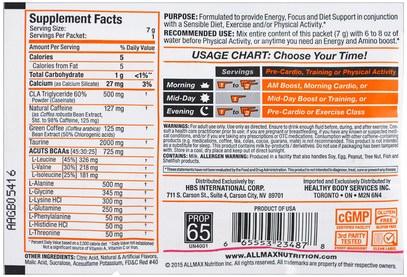 المكملات الغذائية، والأحماض الأمينية، بكا (متفرعة سلسلة الأحماض الأمينية) ALLMAX Nutrition, AMINOCUTS (ACUTS), BCAA + Taurine + CLA + Green Coffee, Goji Berry Martini, Trial Size, 0.25 oz (7 g)