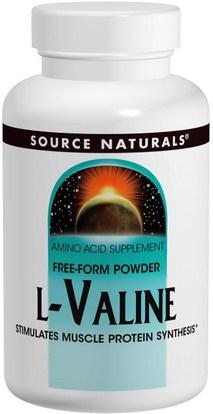 المكملات الغذائية، الأحماض الأمينية، بكا (متفرعة سلسلة الأحماض الأمينية)، l فالين Source Naturals, L-Valine, 3.53 oz (100 g)