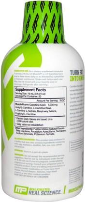 المكملات الغذائية، والأحماض الأمينية، ل كارنيتين، ل كارنيتين السائل MusclePharm, Liquid Carnitine Core, Citrus, 16 oz (473 ml)