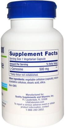 المكملات الغذائية، والأحماض الأمينية، ل كارنوزين Life Extension, Carnosine, 500 mg, 60 Veggie Caps
