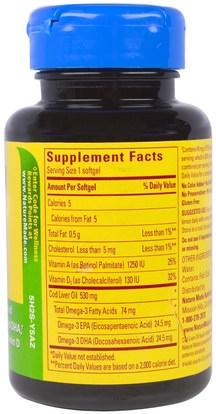 المكملات الغذائية، المضادات الحيوية، الثوم، الصحة، صحة الكبد Nature Made, Cod Liver Oil, 100 Softgels