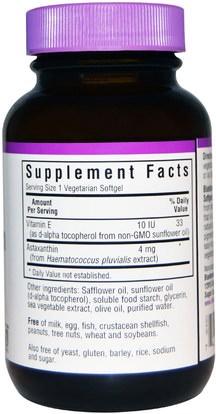 المكملات الغذائية، مضادات الأكسدة، أستازانتين Bluebonnet Nutrition, Astaxanthin, 4 mg, 60 Veggie Softgels