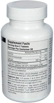 والمكملات الغذائية، ومضادات الأكسدة، واستخراج حبوب البن الخضراء Source Naturals, Green Coffee Extract, 500 mg, 60 Tablets