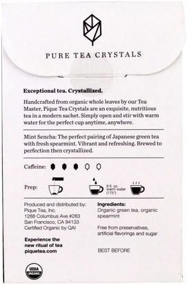 المكملات الغذائية، مضادات الأكسدة، الشاي الأخضر، الغذاء، الشاي العشبية Pique Tea, Mint Sencha, Organic Green Tea, 14 Sachets, 0.3 oz (8.4 g)