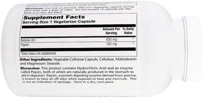 المكملات الغذائية، البيتين هكل Solaray, HCL with Pepsin, 650 mg, 250 Vegetarian Capsules