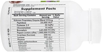 والمكملات الغذائية، والإنزيمات الهاضمة، والصحة Kirkman Labs, Microbiome Broad Spectrum Enzyme w/DPP-IV, 120 Capsules