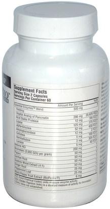 والمكملات الغذائية، والإنزيمات الهاضمة Source Naturals, DigestActiv, 120 Capsules