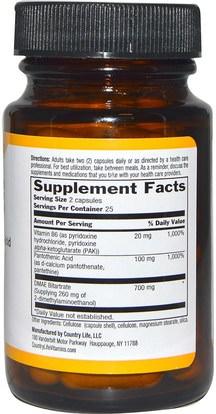 والمكملات، والسوائل دماي وعلامات التبويب Country Life, DMAE, Coenzymized, 350 mg, 50 Veggie Caps
