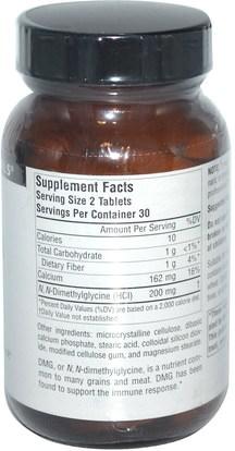 المكملات الغذائية، دمغ (n-ديميثيلغليسين) Source Naturals, DMG, 100 mg, 60 Tablets