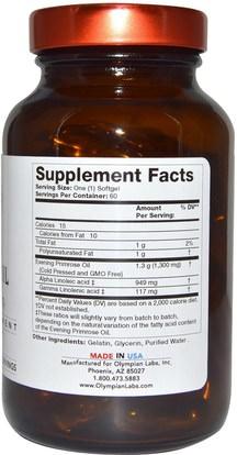 المكملات الغذائية، إيفا أوميجا 3 6 9 (إيبا دا)، زيت زهرة الربيع المسائية Olympian Labs Inc., Evening Primrose Oil, Extra Strength, 1,300 mg, 60 Softgels