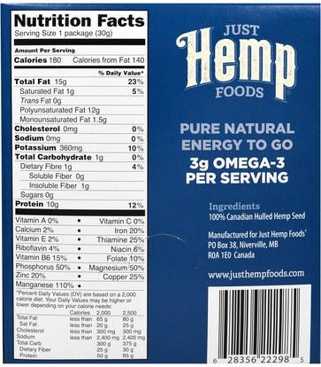 المكملات الغذائية، إيفا أوميجا 3 6 9 (إيبا دا)، منتجات القنب، الطعام، بذور المكسرات الحبوب Just Hemp Foods, Hulled Hemp Seed Protein Toppers, 12 Packets, 1 oz (30 g) Each