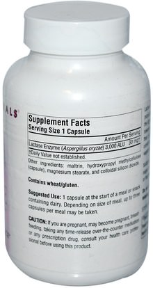 المكملات الغذائية، الإنزيمات، اللاكتاز، الانزيمات الهاضمة Source Naturals, Lactase Digest, 180 Veggie Caps