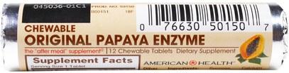 المكملات الغذائية، الانزيمات، البابايا غراء، الانزيمات الهاضمة American Health, Original Papaya Enzyme, Chewable Tablets, 16 Rolls, 12 Tablets Per Roll