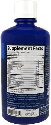المكملات الغذائية، الجلوكوزامين Trace Minerals Research, Glucosamine/Chondroitin/MSM, Blueberry, 32 fl oz (946 ml)