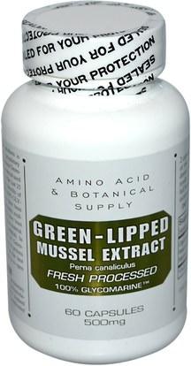 المكملات الغذائية، بلح البحر الأخضر Amino Acid & Botanical Supply, Green-Lipped Mussel Extract, 500 mg, 60 Capsules