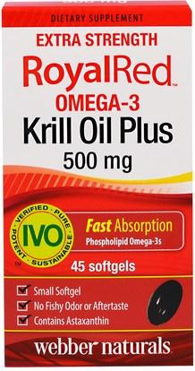 المكملات الغذائية، زيت الكريل Webber Naturals, RoyalRed Omega-3 Krill Oil Plus, Extra Strength, 500 mg, 45 Softgels