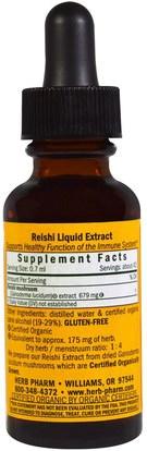 المكملات الغذائية، الفطر الطبية، الفطر ريشي، أدابتوغين Herb Pharm, Reishi, 1 fl oz (30 ml)