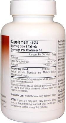 المكملات الغذائية، الفطر الطبية، الفطر ريشي، أدابتوغين Planetary Herbals, Reishi Mushroom, Full Spectrum, 460 mg, 100 Tablets