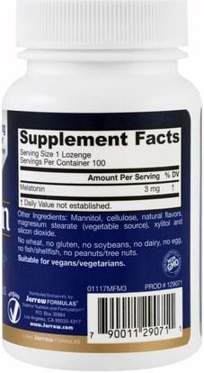المكملات الغذائية، الميلاتونين Jarrow Formulas, Melatonin Quick-Solv, 3 mg, Berry Hibiscus Flavor, 100 Lozenges