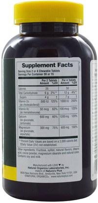 المكملات الغذائية، المعادن، الكالسيوم، الكالسيوم مضغ Natures Plus, Cal/Mag/Vit D3, Chocolate, 60 Chewables