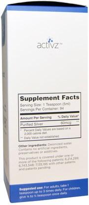 المكملات الغذائية، المعادن، المعادن السائلة، هدروسول الفضة Activz, Silver Immune Support, 12 PPM, 16 fl oz (473 ml)