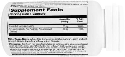 والملاحق، والمعادن، والزنك، والفيتامينات، وفيتامين ب المعقدة Solaray, Bio Zinc, 100 Capsules