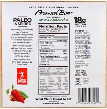 والمكملات الغذائية، والحانات الغذائية، والوجبات الخفيفة Caveman Foods, Primal Bar, Chicken with Smoked Jalapeno, 12 Bars, 1.5 oz (42 g) Each