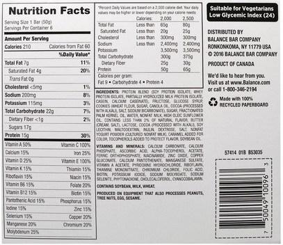 والمكملات الغذائية، والحانات الغذائية، والوجبات الخفيفة، والوجبات الخفيفة الصحية Balance Bar, Nutrition Bar, Cookie Dough, 6 Bars, 1.76 oz (50 g) Each