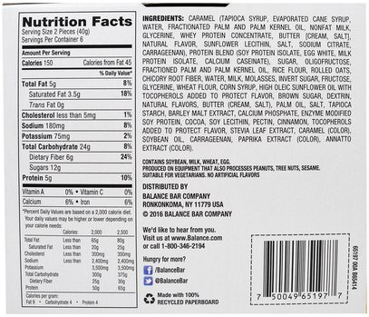 والمكملات الغذائية، والحانات الغذائية، والوجبات الخفيفة، والوجبات الخفيفة الصحية Balance Bar, Nutrition Bar, Dulce De Leche & Caramel, 6 Bars, 1.41 oz (40 g) Each