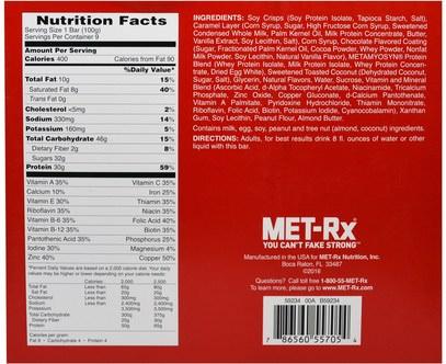 والمكملات الغذائية، والحانات الغذائية، والوجبات الخفيفة MET-Rx, Big 100 Colossal, Meal Replacement Bar, Chocolate Caramel Coconut, 9 Bars, 3.52 oz (100 g) Each