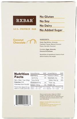 والمكملات الغذائية، والحانات الغذائية، والوجبات الخفيفة RXBAR, Protein Bars, Coconut Chocolate, 12 Bars, 1.83 oz (52 g) Each