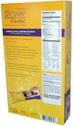 المكملات الغذائية، الحانات الغذائية ZonePerfect, Classic, All-Natural Nutrition Bars, Chocolate Almond Raisin, 12 Bars, 1.76 oz (50 g) Each