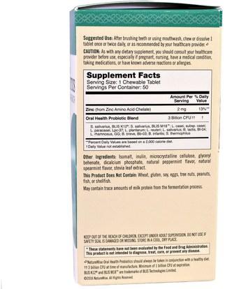 المكملات الغذائية، البروبيوتيك NatureWise, Time Release, Probiotics, Oral Health, Fresh Mint Flavor, 50 Chewable Tablets