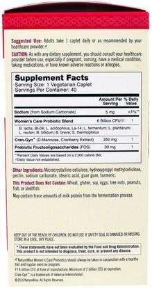المكملات الغذائية، البروبيوتيك NatureWise, Time Release Probiotics, Womens Care, 40 Sustained Release Caplets