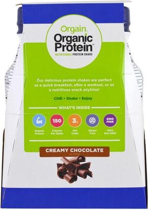 المكملات الغذائية، مشروبات البروتين Orgain, Organic Protein Nutritional Protein Shake, Creamy Chocolate Flavor, 4 Pack, 14 fl oz (414 ml) Each