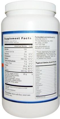 والمكملات الغذائية، والبروتين Genuine Health Corporation, Vegan Proteins+, Natural Vanilla Flavor, 27.5 oz (780 g)