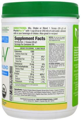 والمكملات الغذائية، والبروتين NovaForme, PhytoPro-V, Certified USDA Raw Organic Premium Vegan Rice Protein, Vanilla, 1.28 lbs (580 g)