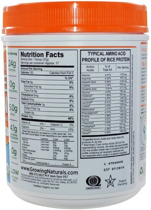 المكملات الغذائية، البروتين، مسحوق بروتين الأرز Growing Naturals, Organic Raw Rice Protein, Original, 16.2 oz (459 g)