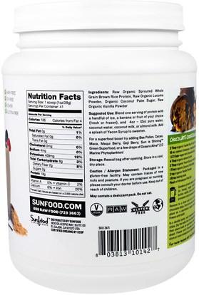 المكملات الغذائية، البروتين، مسحوق بروتين الأرز Sunfood, Raw Organic Vanilla Rice Protein, 2.5 lb (1.13 kg)