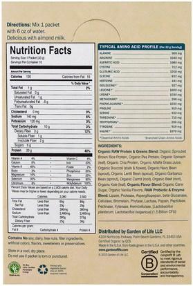 المكملات الغذائية، البروتين، سوبرفوودس، الخضر Garden of Life, Raw Protein & Greens, Organic Plant Formula, Lightly Sweet, 10 Packets, 1.1 oz (33 g) Each