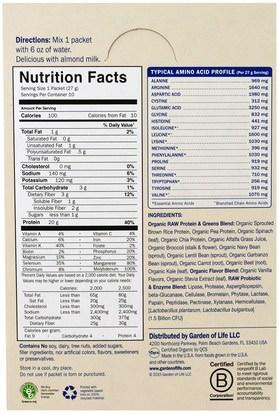 المكملات الغذائية، البروتين، سوبرفوودس، الخضر Garden of Life, Raw Protein & Greens, Organic Plant Formula, Real Raw Vanilla, 10 Packets, 1.0 oz (27 g) Each