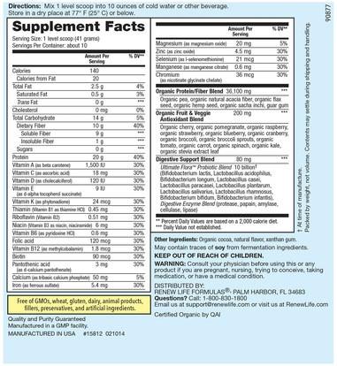 والمكملات الغذائية، والبروتين، وفقدان الوزن، والنظام الغذائي Renew Life, Skinny Gut, Ultimate Shake, Natural Chocolate Flavor, 14.5 oz (410 g)