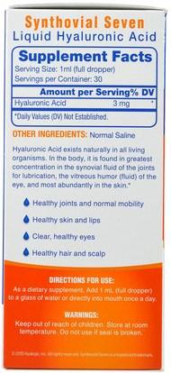 المكملات الغذائية، ريسفيراترول، مكافحة الشيخوخة Hyalogic LLC, Hyaluronic Acid, Synthovial Seven + Resveratrol, 1 Kit