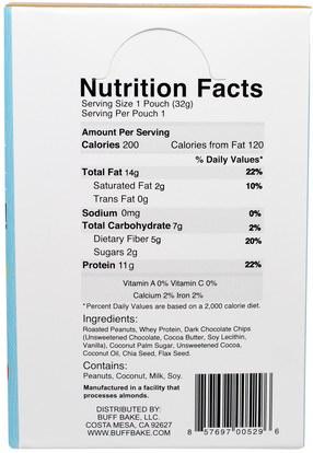 والمكملات، وحزم خدمة واحدة، والمربيات انتشار Buff Bake, Chocolate Chip Protein Peanut Spread, Chia + Flax, 10 Squeeze Packs, 1.15 oz (32 g) Each